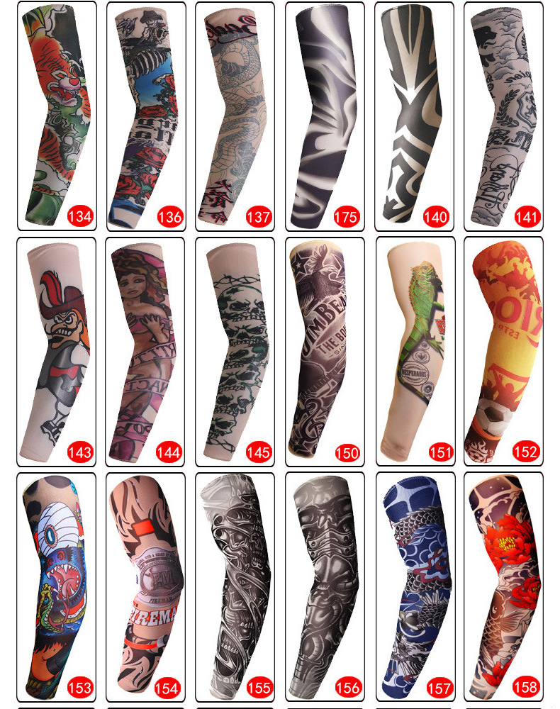 Tattoo Sleeve Printed Arm Sleeve Seamless Summer Sunscreen Warmers Tattoo Stitched Outdoor Riding Seamless Cool Arm Warmers