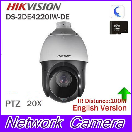 In stock Hikvision Original English 2MP PTZ DS-2DE4220IW-DE PTZ IP camera CCTV security Surveillance POE ONVIF POE CCTV Camera hikvision ds 2ae5123t a original english version 2mp ptz ip camera cctv security camera surveillance poe onvif 4k hd network