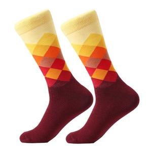 Image 4 - MYORED mens colorful casual dress socks combed cotton striped plaid geometric lattice pattern fashion design high quality