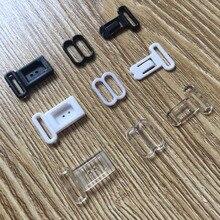 Juego de ganchos de lazo de plástico accesorios de cinta ajustables, cierres y ganchos negros/transparentes, juego de ojos, sujetador para atar clips, 100/200 Uds.