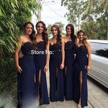Dark Navy Blue Bridesmaid Dress Sweetheart Appliques High Slit Formal Women Dress For Wedding