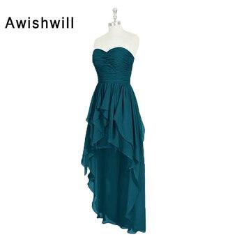 Real Pictures Vestido De Festa Maid Of Honor Dress Sweetheart Neckline Ruffles Chiffon High Low Bridesmaid Dresses Cheap