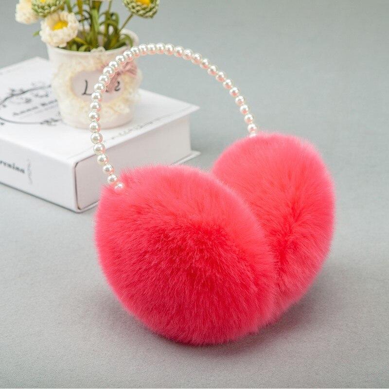 Red Round Pattern Halloween Pumpkin Winter Earmuffs Ear Warmers Faux Fur Foldable Plush Outdoor Gift