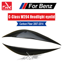 W204 Carbon Fiber decoration Headlights Eyebrows Eyelids cover for Mercedes-benz C class C180 C200 C250 C300 C63 2007-2014