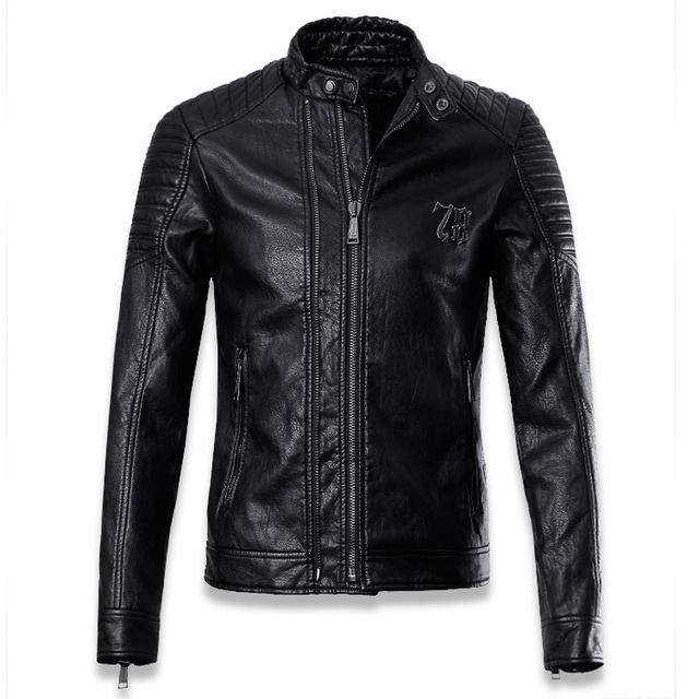 Solid Color Brand Motorcycle Leather Jackets Men Oversize European and American Style Slim Fit Mens Collar Leather Jackets C011