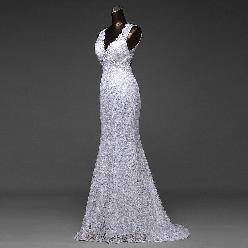 V-Neck Beautiful Backless Mermaid Wedding Dress 4