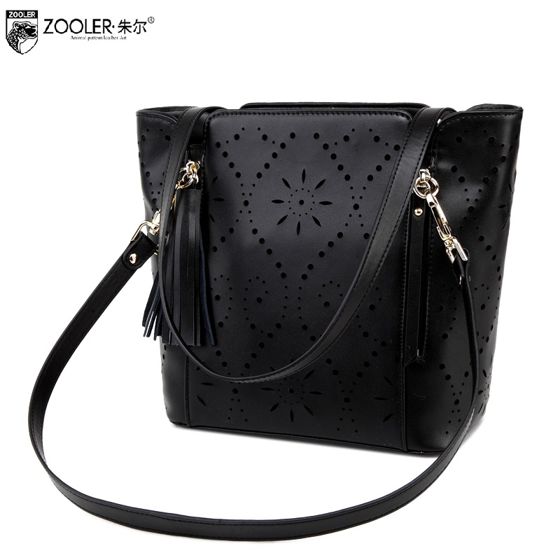 ZOOLER big sales hot genuine leather bag famous brand shoulder bag hollow pattern100% cowhide top handle bag bolsa feminina#5009 new product sales zooler brand zipper cowhide bag top handle shoulder bag simply solid genuine leather bag women bag bolsas c108