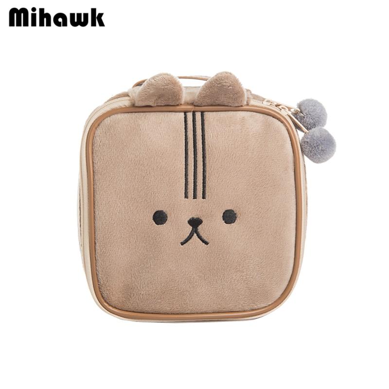Mihawk Cute Bear Travel Cosmetic Bag Cartoon Rabbit Girl's Mini Pouch Wash Makeup Tools Organizer Case Box Accessories Supplies