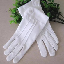 1pair White Polyester Cotton Three-ribbon Belt Buckle Military Gloves Etiquette Command Gloves Band Formal Gloves Unisex(China)