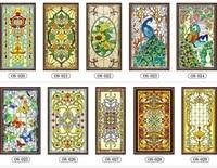 Custom No glue electrostatic scrubs translucent church stained glass windows and doors wardrobe furniture foil stickers 70x120cm