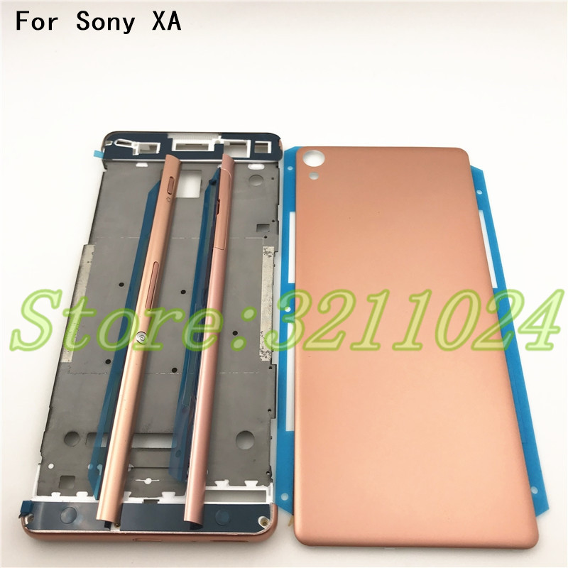 New Full Housing Middle Front Frame Bezel Housing For Sony Xperia XA F3111 F3112 F3115+Side Rail Stripe With Side Buttons+Logo