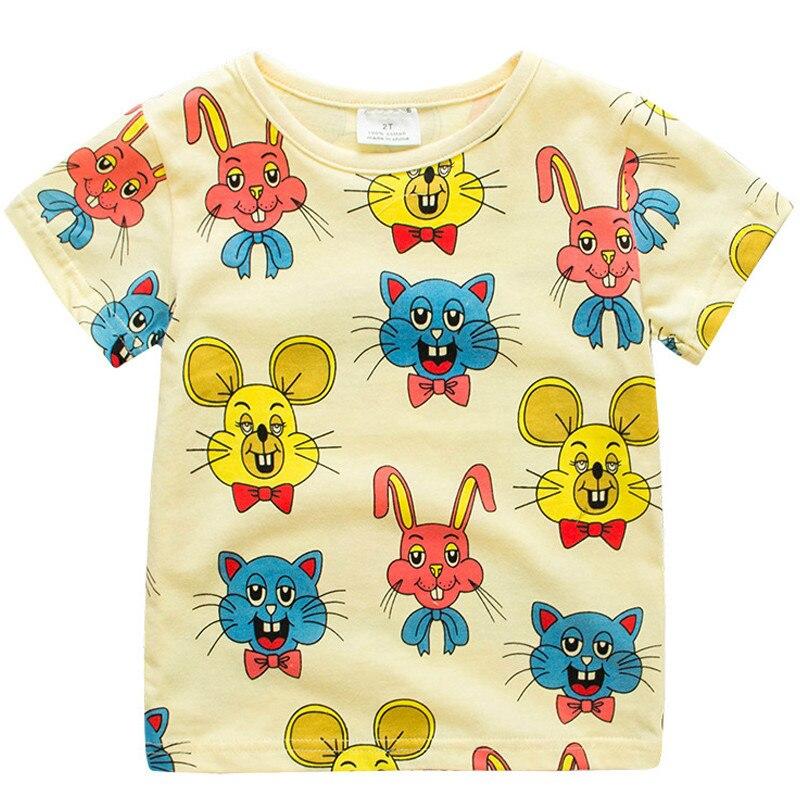 Boys Girls Koszulki Summer Unisex Cartoon Rabbit Cat Mouse Cotton - Ubrania dziecięce - Zdjęcie 1
