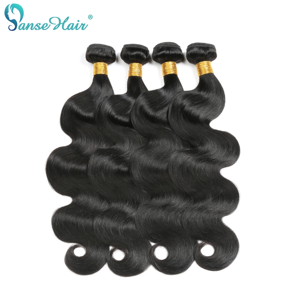 Panse Hair Brazilian Hair Waving Body Wave 100% Human Hair Products Customized 8-30 Inches 4 Pcs Per Lot Natural Black Non Remy