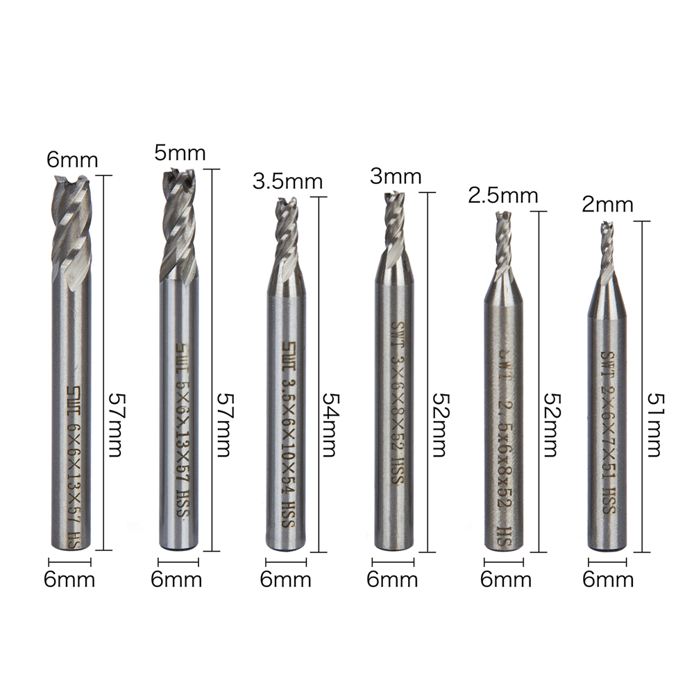 6Pcs Durable End Mill HSS 4 Flutes 2mm-6mm Diameter Milling Cutter Straight Shank Router Bit Set CNC Tools 1pc durable mayitr cnc carbide alloy woodworking milling cutter straight end 1 2 shank 2 1 4 dia bottom cleaning router bit