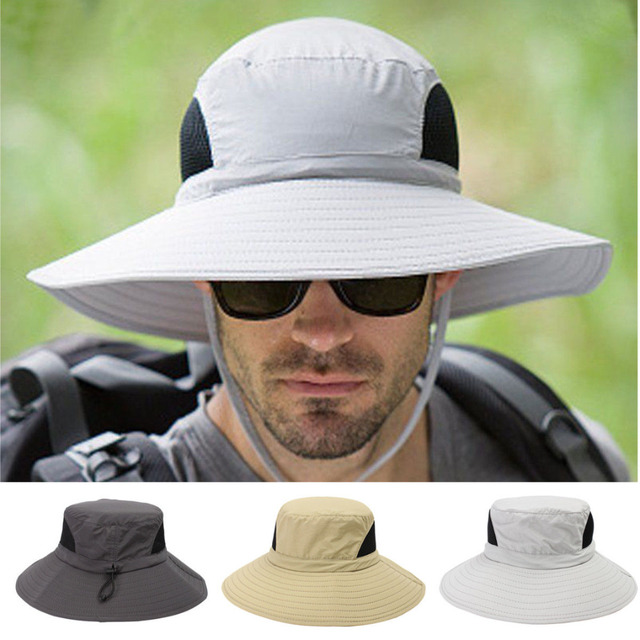 d6c38748777 Unisex Summer Bucket Hat Wide Brim Fishing Hats Caps Breathable Sun  Protection Boonie Hat for Outdoor Camping Mountain Jungle