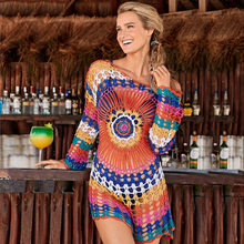 Ladies Beach Cover Up Blouse Hollow Knit Sunscreen Smock  Sexy Womens Bathing Suit Ups White Loose Dresses