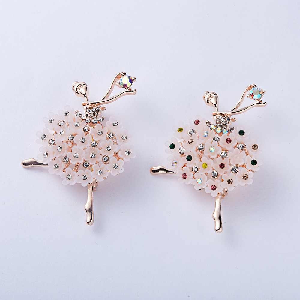 RINHOO jimnastik kız çiçek dansçı kristal broş kadınlar için sevimli Pin bijuteri yüksek kaliteli korsaj moda düğün takısı