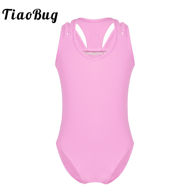 TiaoBug 3-12 Years Kids Girls Sleeveless Lace Splice Racer Back Cotton Ballet Dance Gymnastics Leotard Jumpsuit Ballerina Dress
