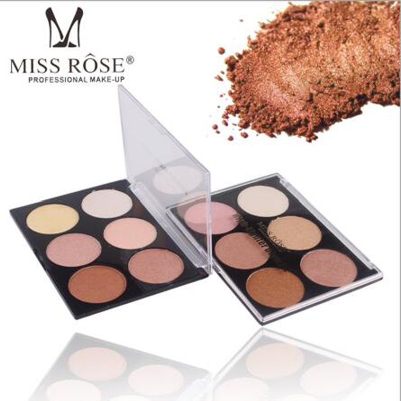 MISS ROSE high-gloss powder stereo V face base six-color white  concealer cheek strengthen silhouette