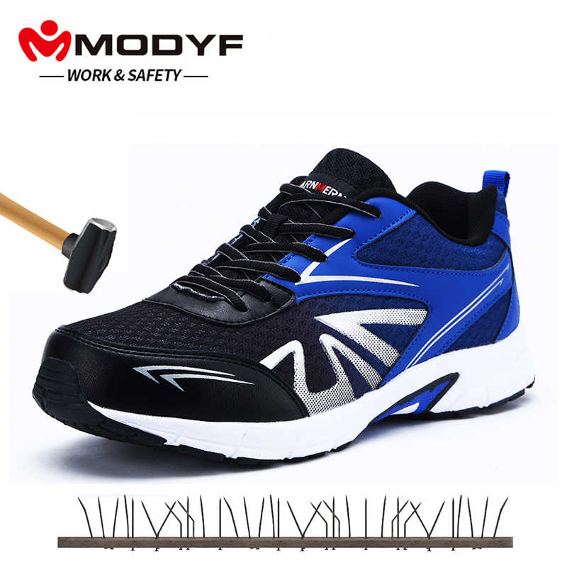 d0145dda15ab MODYF Mens Steel Toe Safety Work Shoes For Men Lightweight Breathable Soft  Anti-smashing Non