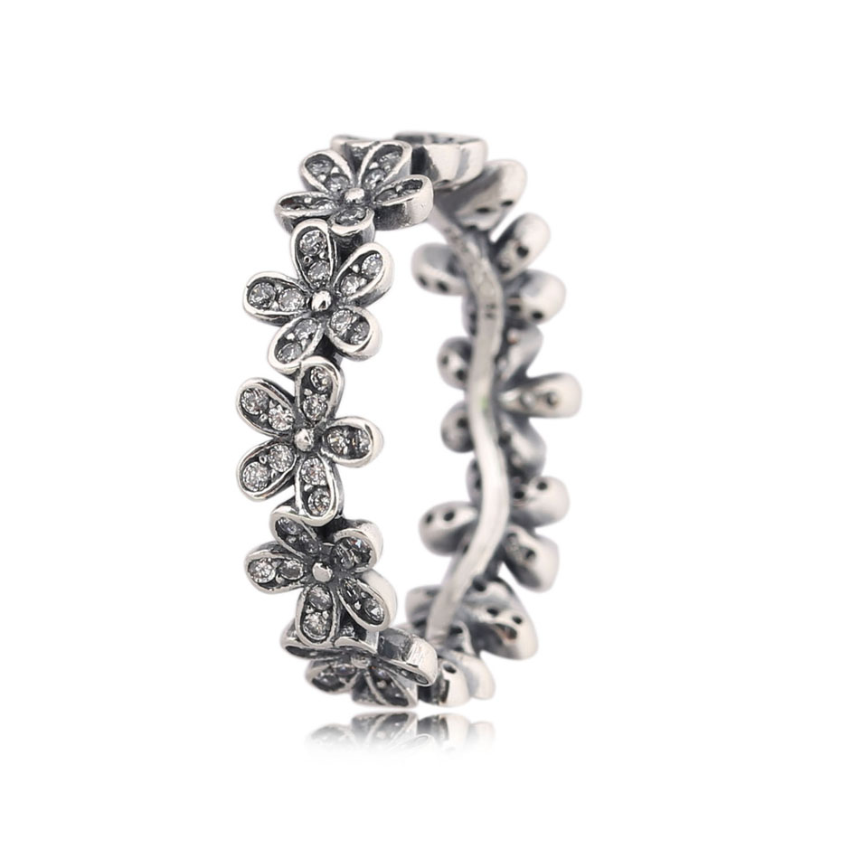 925 Sterling Silver Rings for Women Dazzling Daisy Meadow Stackable Ring Girl Birthday Finger Ring Gift fit Lady Jewelry