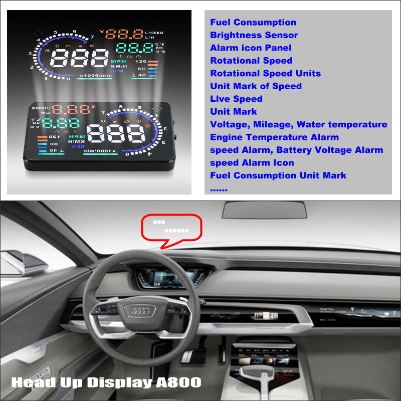 For Audi A3 A4 A5 A6 A7 2015 2016 HUD Car Head Up Display Saft Driving Screen Projector - Refkecting Windshield rastp m9 hud 5 5 inch head up windscreen projector obd2 euobd car driving data display speed rpm fuel consumption rs hud011