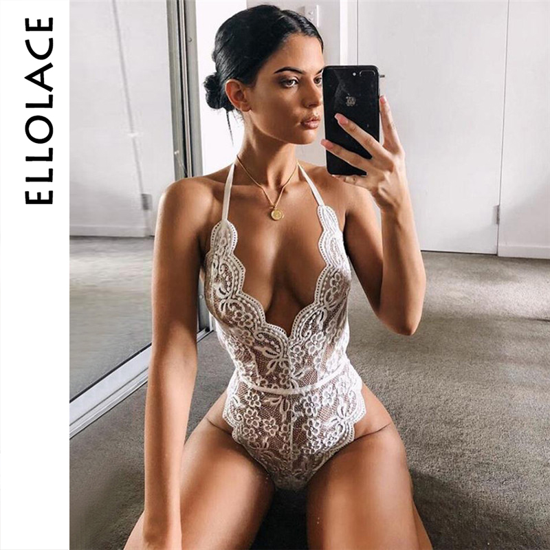 Ellolace Sexy Flower Embroidery Bodysuit Women Halter Deep-V Rompers Backless Transparent Bodys Overalls Bodycon Lady Overalls