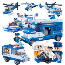 395PCS Police Motorcycle Car Boat Educational Building Blocks Model Bricks Toys For Children Kid Friend Compatible With Legoed(China)