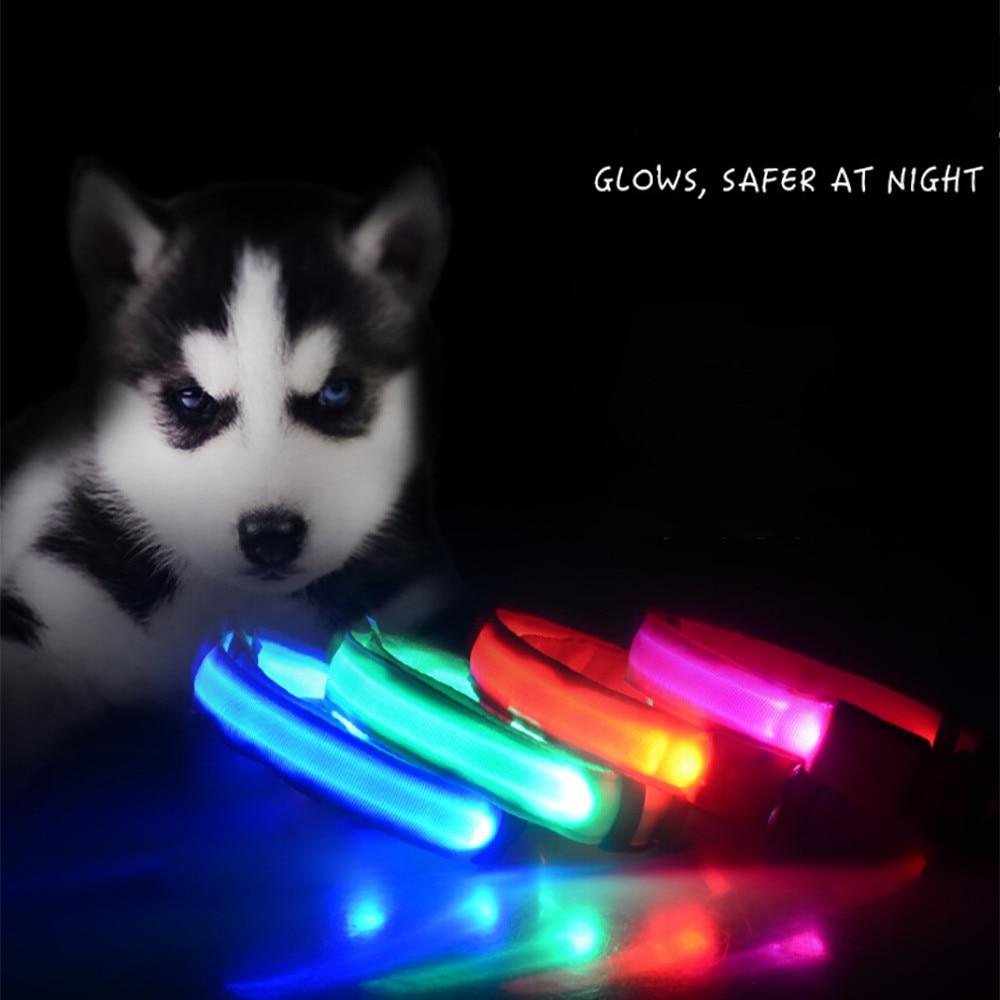 Pet Cat Dog Glow LED Collar Flashing Light Up Nylon Night Safety Collars Supplies S M L XL For Small Medium Big Dog Cat #01