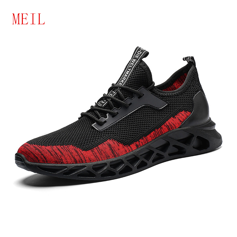 Sale Flying Woven Mens Mesh Sneakers New Fashion Lightweight Shockproof Men Casual Shoes Man Flats Breathable Shoes Men Trainers