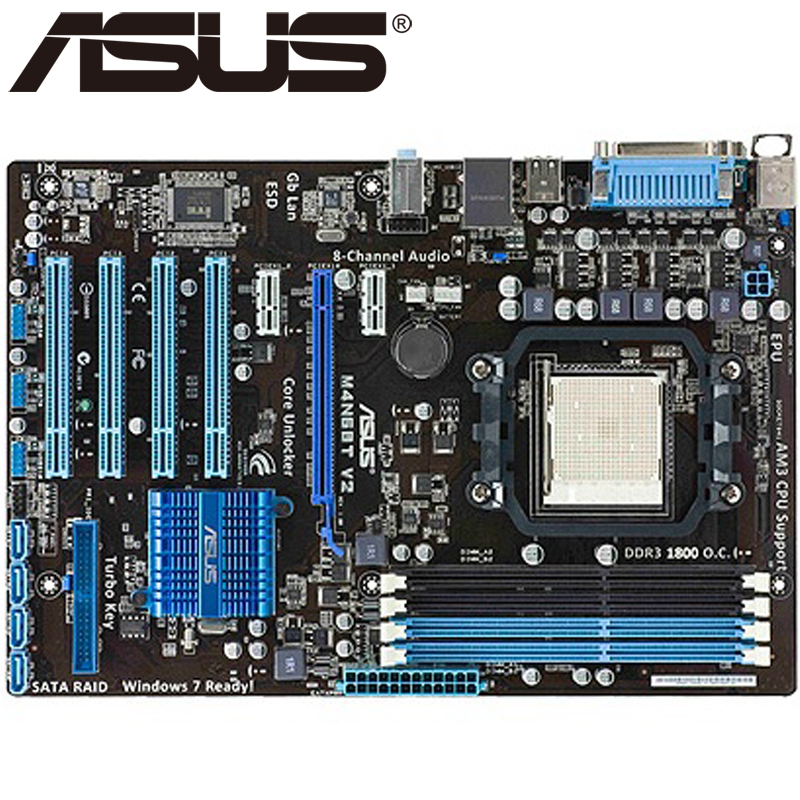 Asus M4N68T V2 Desktop Motherboard 630A Socket AM3 For Phenom II Athlon II Sempron 100 DDR3 16G ATX Original Used Mainboard original used desktop motherboard for asus m4a88t m a88 support socket am3 4 ddr3 support 16g 6 sata2 uatx