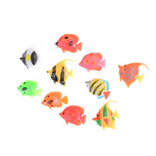 10 pièces/ensemble poisson artificiel petit poisson Simulation faux poisson flottant vif paysage Aquarium ornement plastique décoration(China)