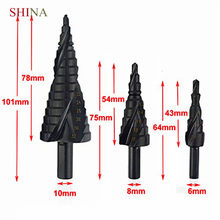 3PCS 4-32MM HSS cobalt step Drills Nitrogen Stepped Drill Multi-function Triangular Shank Hole Cutter Drill(China)