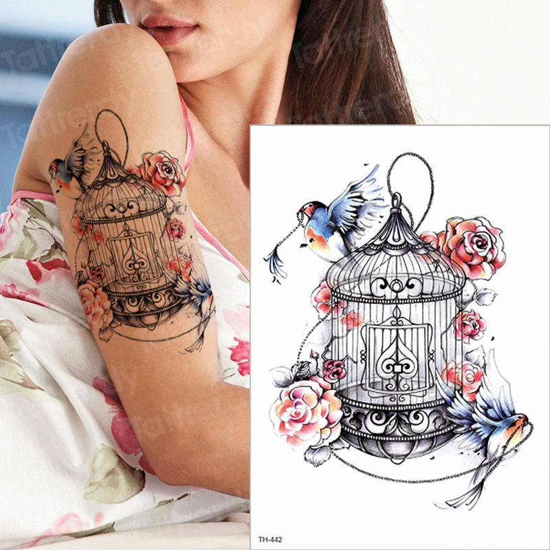 Waterproof Temporary Sleeve Arm Tattoo Birds Birdcage Tattoos Flower Girls Tatoo Watercolor Stick Tattoo