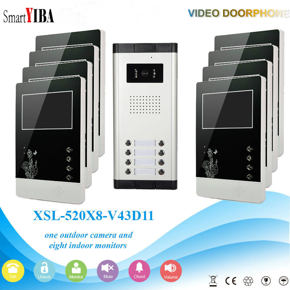SmartYIBA 8 Units Video Intercom Apartment Door Phone System Multi Building Video Door Phone Outdoor Door Camera With 8 Buttons