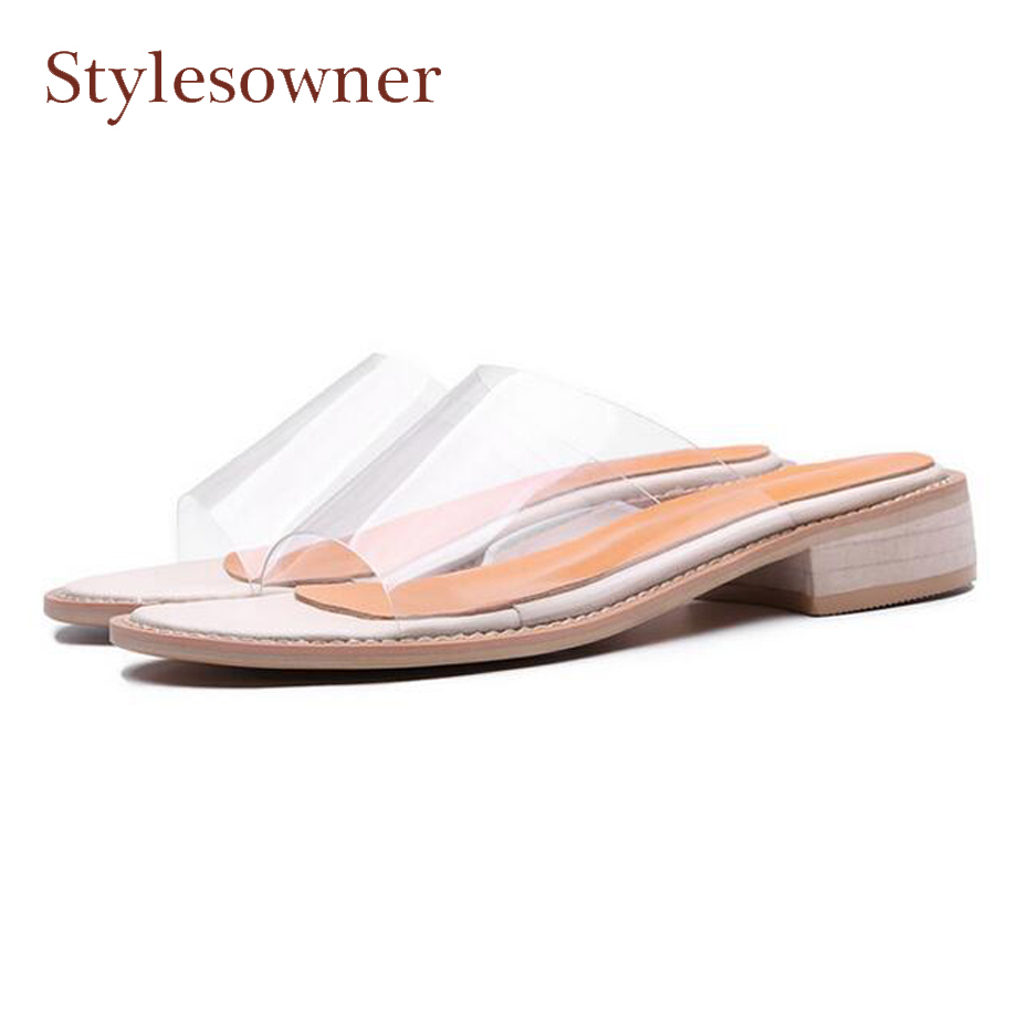 Stylesowner 2018 new women slippers transparent pvc uppers open toe chunky low heel slides ladies beach casual rome style shoes 2 5cm low heel rhinestones slides women sandals shoes 2016 female slippers hoof heel real photo ladies slides new arrival