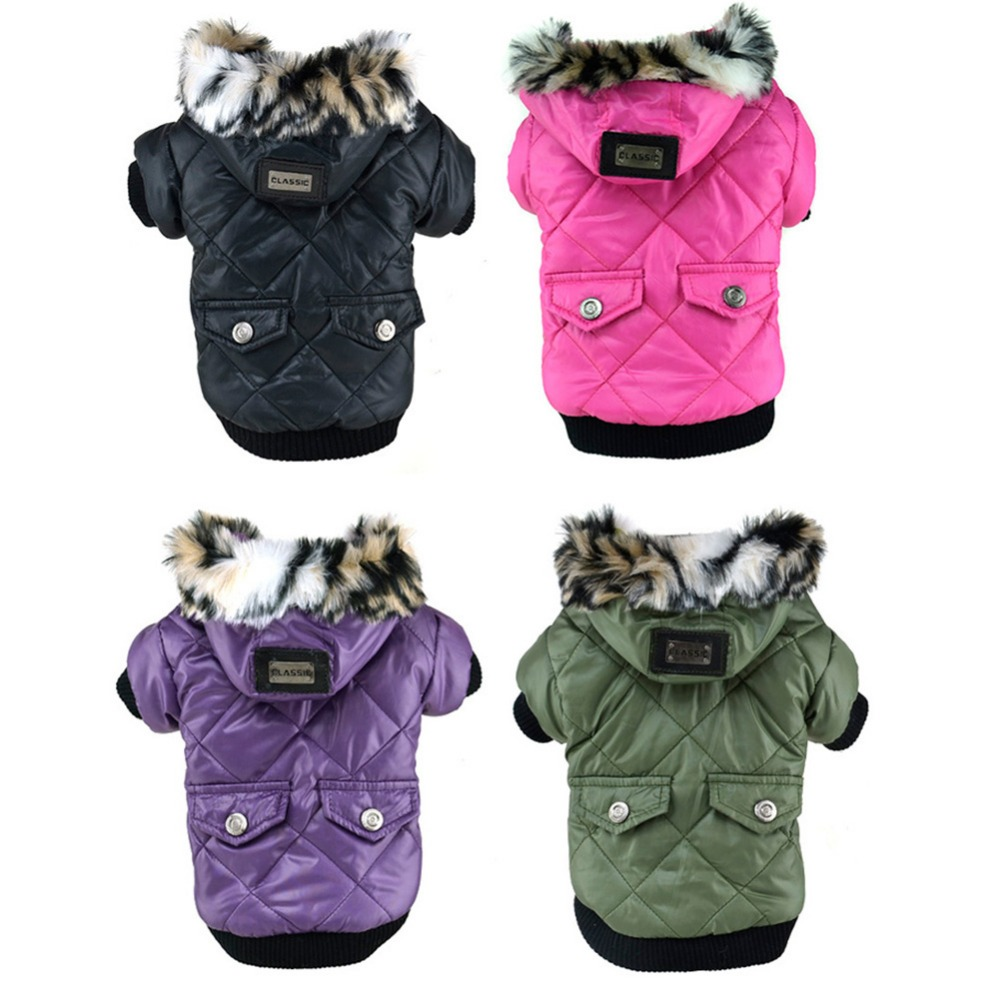 Cute Warm Coat Jacket Pockets Faux Fur Trimmed Hoodies Dog Kostum Puppy Dog Puppy Besar