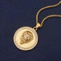 316L титановая сталь золотого цвета круглая голова льва кулон ожерелье с цирконом Мода хип хоп рок ювелирные изделия для мужчин и женщин