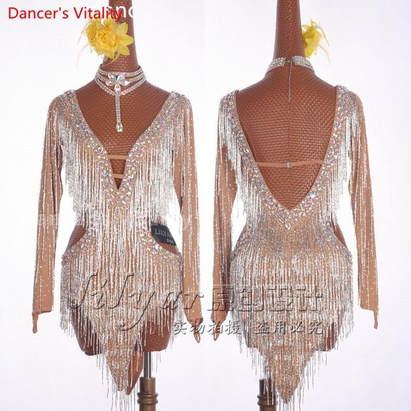 2017Professional Latin Dress Luxury High-end Tassel Diamonds Latin Dance Dress Girl Latin Skirt Latin Dance Costume Dance Dress