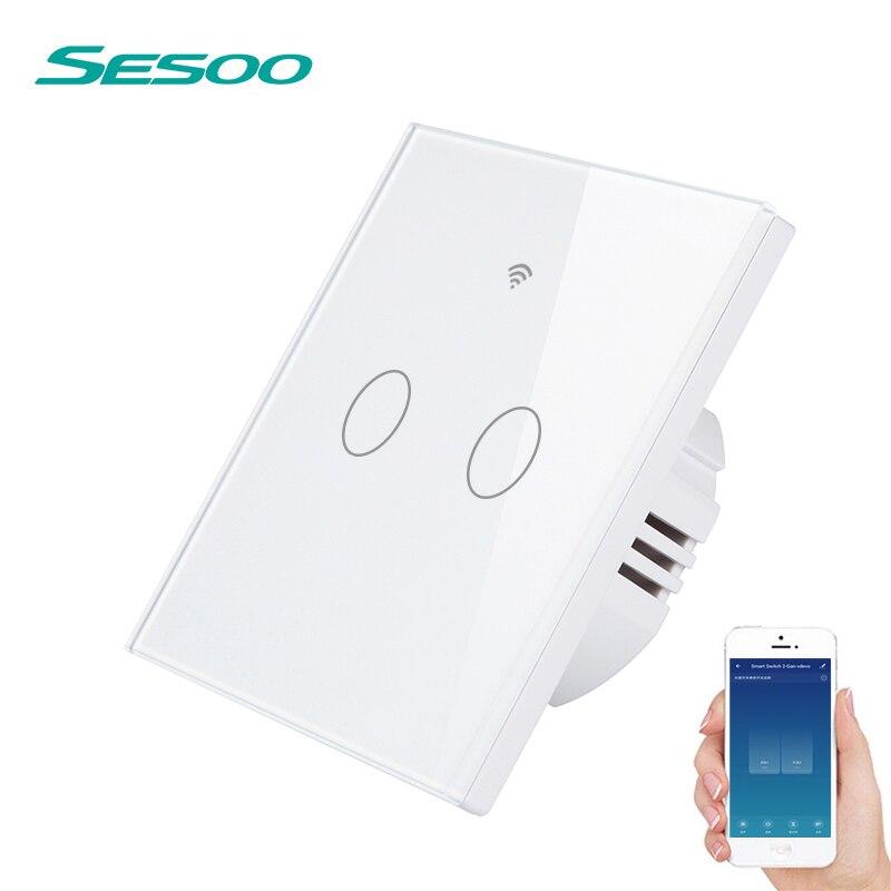 Interrupteur tactile intelligent SESOO WIFI interrupteur mural sans fil à distance avec panneau en verre cristal à 2 bandes fonctionne avec Alexa/Google Home