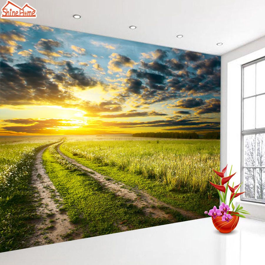 ShineHome-Country Road Sunset Dusk Cloundy Nature Landscape 3d Photo Wallpaper for Walls 3 d  Living Room Wallpapers Mural Roll shinehome seascape sea sailing boat sunset wallpaper rolls for 3d walls wallpapers for 3 d living rooms wall paper murals roll