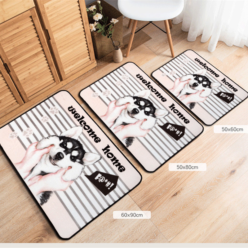 Creative Cartoon Dog Pattern Mat Striped Carpet Lovely Husky Antiskid Mats  Small Rug Personality Home Kitchen Children Room Pad In Mat From Home U0026  Garden On ...