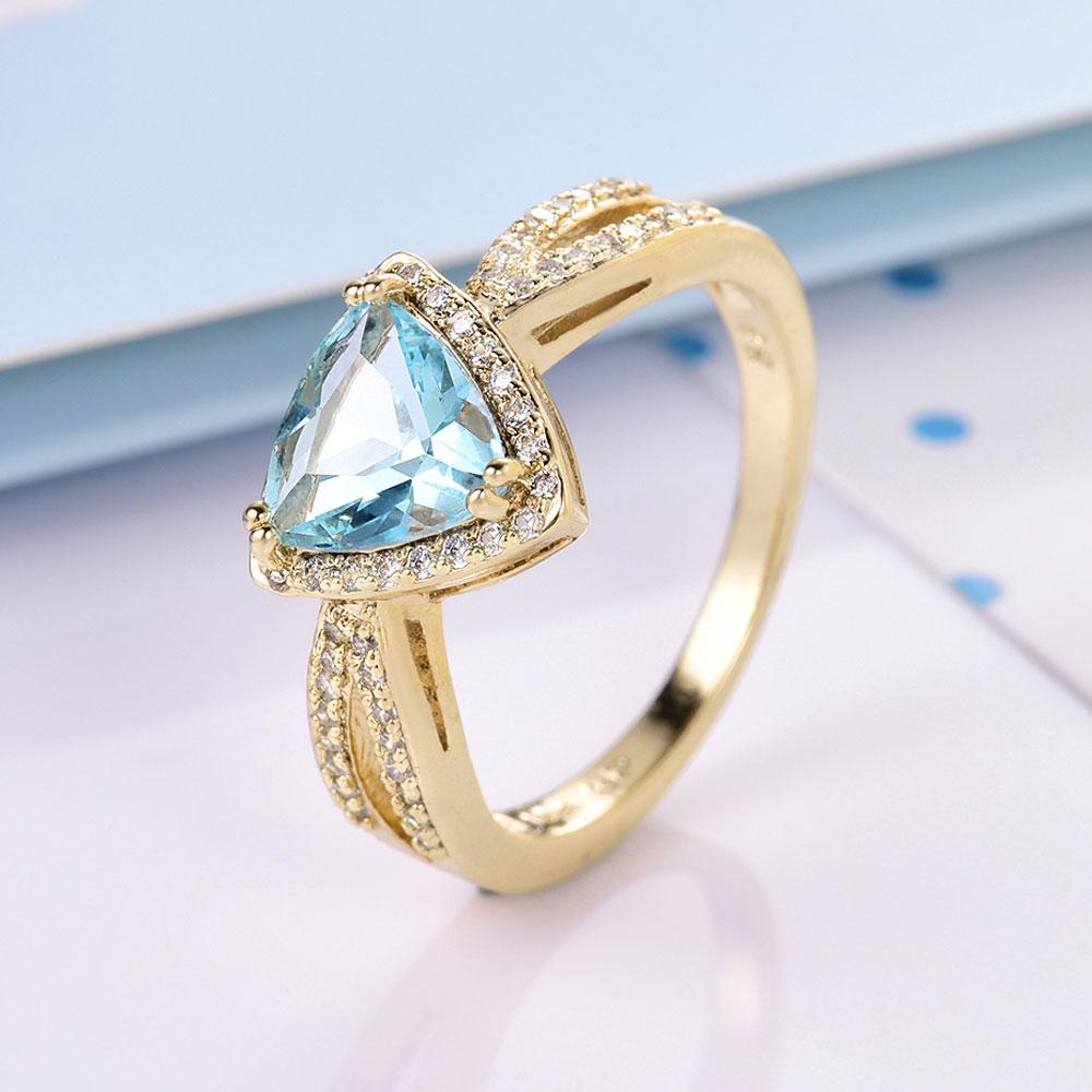 631410834bd3 Moliam Moda joyería mujer anillo azul claro blanco cúbicos ZIRCON ...