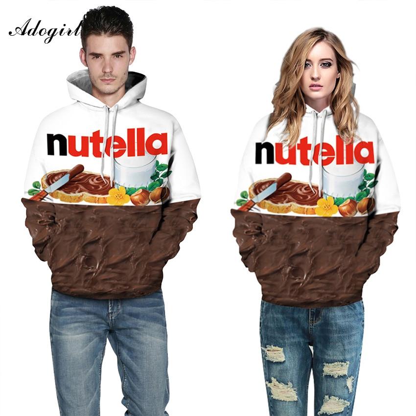 Adogirl Nutella Letter Print Skateboard Sweatshirts 3D ...