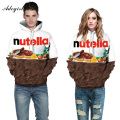 Adogirl Nutella Letter Print Skateboard Sweatshirts 3D Chocolate For Women Men Pullover Hoodies Plus Size 3XL Tracksuits