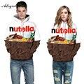 Nutella Adogirl Carta Impressão Camisolas Skate De Chocolate 3D Para As Mulheres fatos de Treino Dos Homens Hoodies do Pulôver Plus Size 3XL