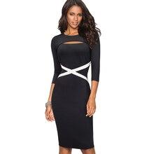 素敵な永遠のヴィンテージエレガントなコントラスト色パッチワーク中空アウト作業vestidosビジネスパーティーボディコンオフィス女性ドレスB490