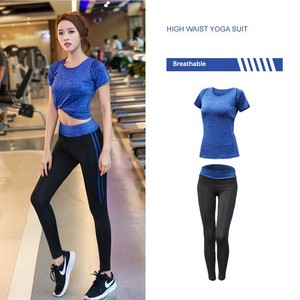 Image 4 - New Womens Sportwear Solid Yoga Sport Suit Breathable Gym Set Female Bra T shirt Shorts Pants Workout Fitness Clothes Tracksuit