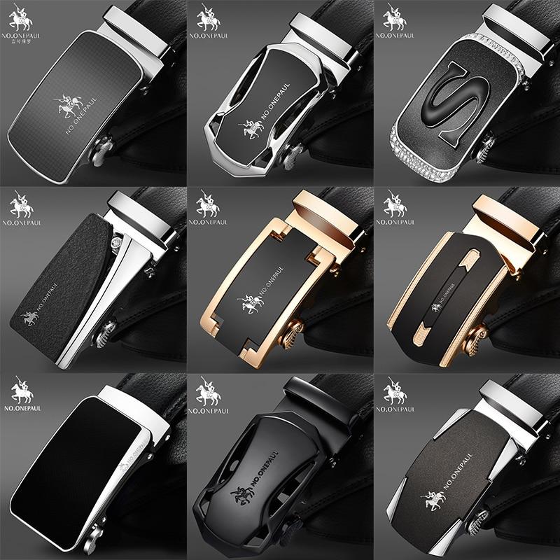 KEINE. ONEPAUL Luxus marke Männlichen Echtem Leder Strap Gürtel Für Männer Top Qualität Gürtel Automatische Schnalle schwarz Gürtel Cummerbunds