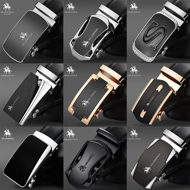 NO ONEPAUL de marca de lujo hombre correa de cuero genuino cinturones para hombres de alta calidad cinturón de hebilla de cinturón negro, Liga